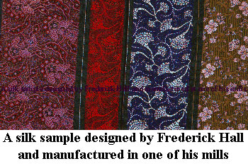 A silk sample designed by Frederick Hall and produced at one of his Macclesfield Mills.